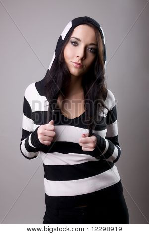 Attractive Girl In Stripes Woolly