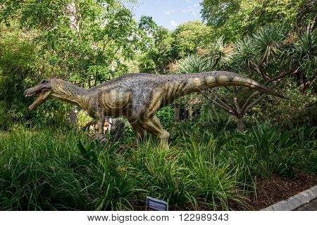 PERTH, WA / AUSTRALIA - MARCH 13: Baryonyx in tall grass display model in Perth Zoo as part of Zoorassic exhibition in March 2016