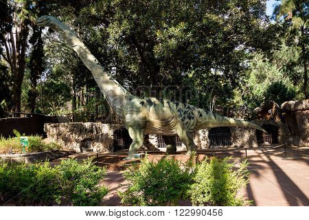 PERTH, WA / AUSTRALIA - MARCH 13: Walking Argentinosaurus display model in Perth Zoo as part of Zoorassic exhibition. Similar to Diplodocus and Brontosaurus in March 2016