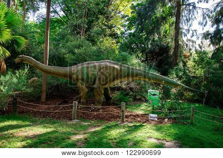 PERTH, WA/AUSTRALIA - MARCH 13: Standing Apatosaurus display model on March 2016 in Perth Zoo as part of Zoorassic exhibition