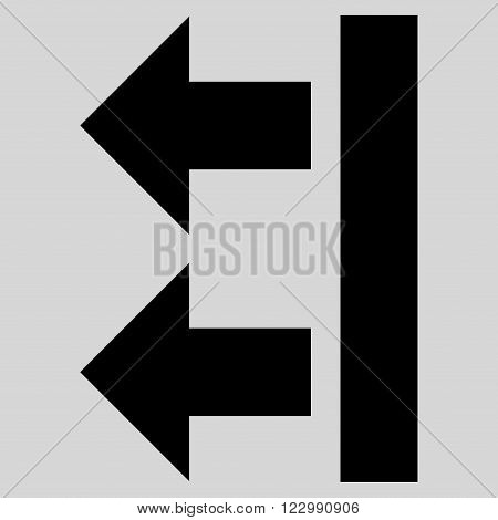 Bring Left vector icon. Style is flat icon symbol, black color, light gray background.