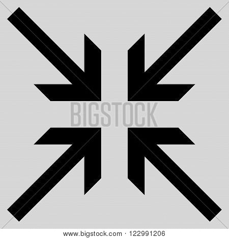 Collide Arrows vector icon. Style is flat icon symbol, black color, light gray background.