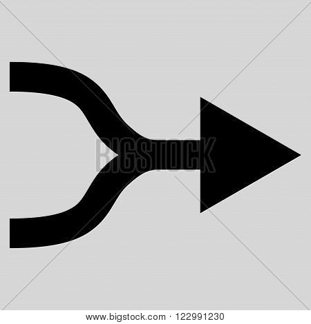 Combine Arrow Right vector icon. Style is flat icon symbol, black color, light gray background.