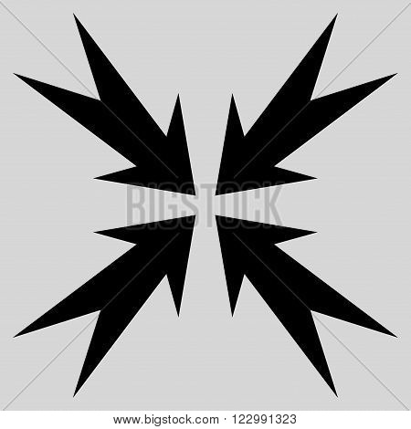 Compression Arrows vector icon. Style is flat icon symbol, black color, light gray background.