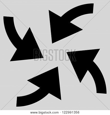 Cyclone Arrows vector icon. Style is flat icon symbol, black color, light gray background.