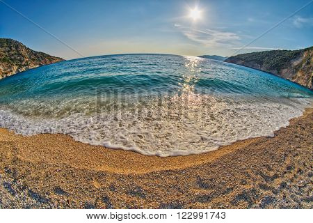 Tide & Wave at Empty Sunset Myrtos Beach in Kefalonia, Greece