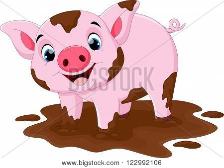 Vector illustration of cartoon pig play in a mud puddle