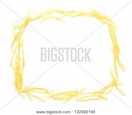 Elastic bands shaped as a frame on white