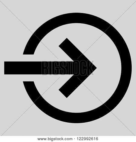 Import vector icon. Style is flat icon symbol, black color, light gray background.