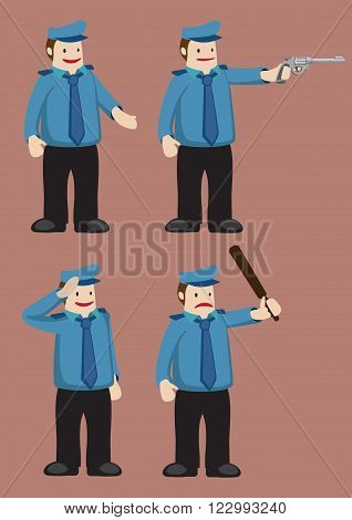 Vector cartoon illustration of police officer in blue uniform and beret with props isolated on plain brown background