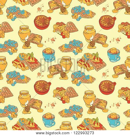 Waffles and coffee. Coffee cup and coffee stain. Vector seamless pattern (background).