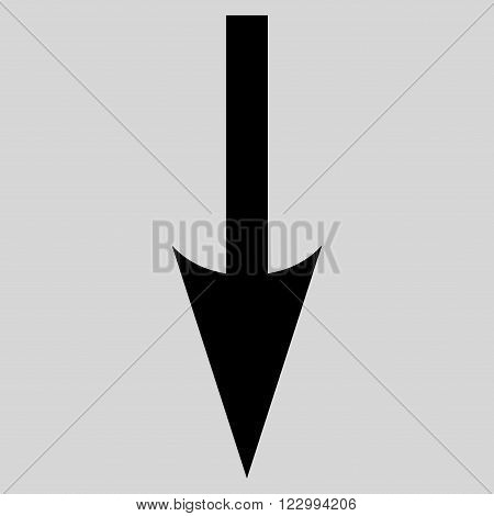 Sharp Arrow Down vector icon. Style is flat icon symbol, black color, light gray background.
