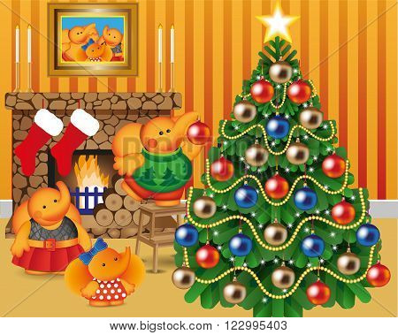 Elephant family decorates Christmas tree, card, pine