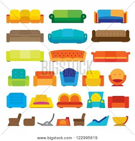 Vector illustration of various flat design couches.