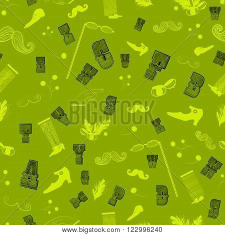 Vintage Seamless Pattern with hipster items. Vector Illustration