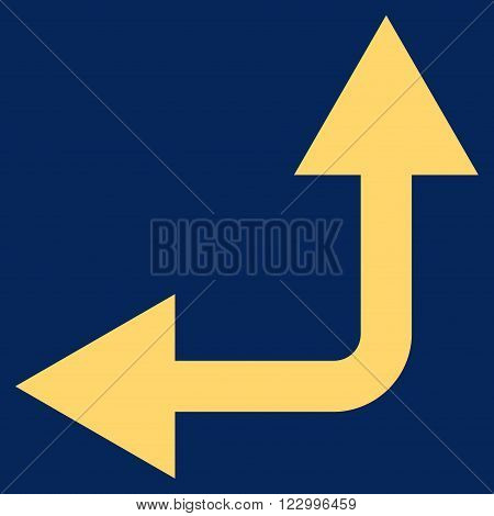 Bifurcation Arrow Left Up vector symbol. Image style is flat bifurcation arrow left up iconic symbol drawn with yellow color on a blue background.