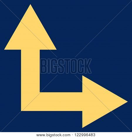 Bifurcation Arrow Right Up vector icon symbol. Image style is flat bifurcation arrow right up pictogram symbol drawn with yellow color on a blue background.