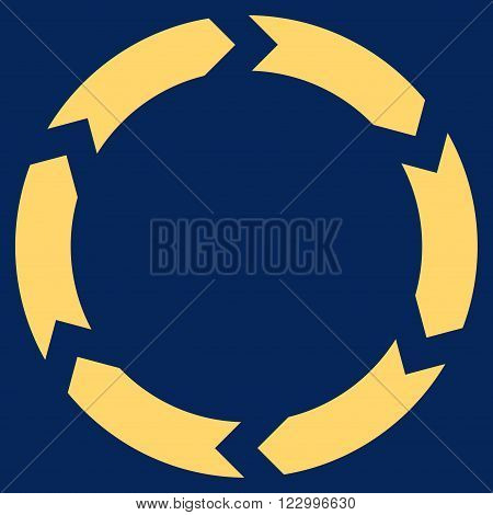 Circulation vector icon symbol. Image style is flat circulation icon symbol drawn with yellow color on a blue background.