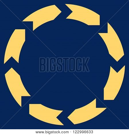 Circulation vector icon. Image style is flat circulation iconic symbol drawn with yellow color on a blue background.