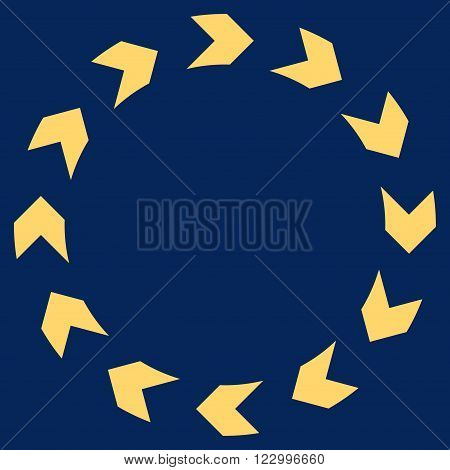 Circulation vector symbol. Image style is flat circulation icon symbol drawn with yellow color on a blue background.