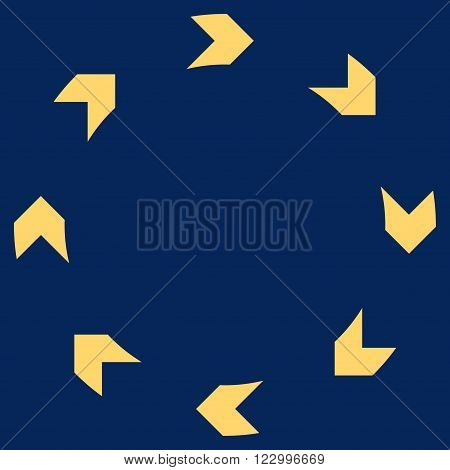 Circulation vector pictogram. Image style is flat circulation pictogram symbol drawn with yellow color on a blue background.