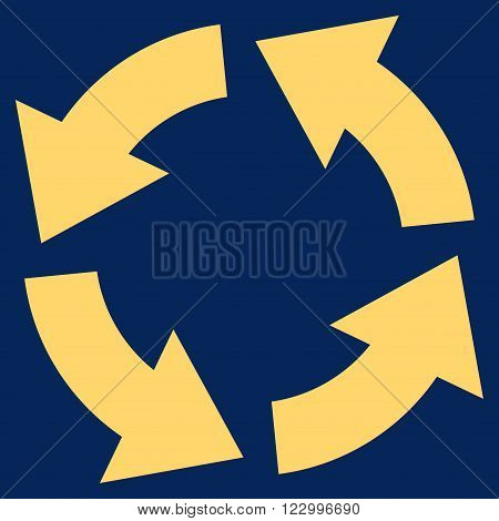 Circulation vector icon. Image style is flat circulation pictogram symbol drawn with yellow color on a blue background.