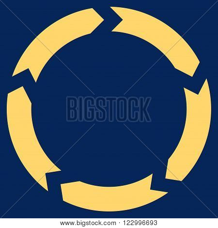 Circulation vector pictogram. Image style is flat circulation icon symbol drawn with yellow color on a blue background.