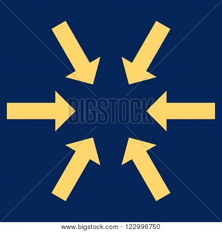 Compact Arrows vector symbol. Image style is flat compact arrows icon symbol drawn with yellow color on a blue background.