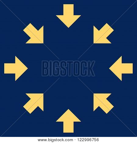Compact Arrows vector icon symbol. Image style is flat compact arrows pictogram symbol drawn with yellow color on a blue background.