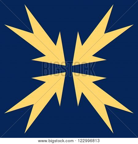 Compression Arrows vector icon symbol. Image style is flat compression arrows icon symbol drawn with yellow color on a blue background.