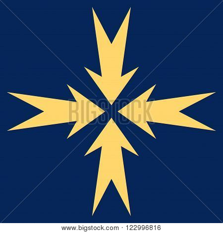 Compression Arrows vector icon symbol. Image style is flat compression arrows pictogram symbol drawn with yellow color on a blue background.