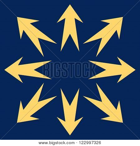 Expand Arrows vector pictogram. Image style is flat expand arrows icon symbol drawn with yellow color on a blue background.