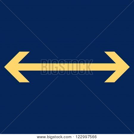 Horizontal Flip vector icon symbol. Image style is flat horizontal flip icon symbol drawn with yellow color on a blue background.