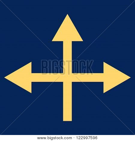Intersection Directions vector icon symbol. Image style is flat intersection directions iconic symbol drawn with yellow color on a blue background.