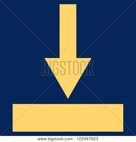 Move Bottom vector pictogram. Image style is flat move bottom pictogram symbol drawn with yellow color on a blue background.