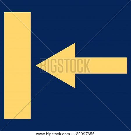 Move Left vector symbol. Image style is flat move left pictogram symbol drawn with yellow color on a blue background.