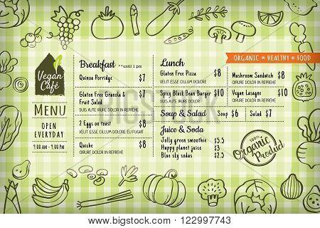 organic food vegan restaurant menu board or placemat vector template
