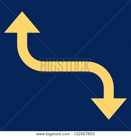 Opposite Bend Arrow vector icon symbol. Image style is flat opposite bend arrow iconic symbol drawn with yellow color on a blue background.