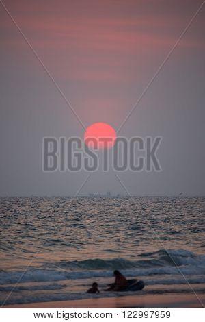 Nice sunset at Mae-Ramphueng beach Rayong ,Thailand.