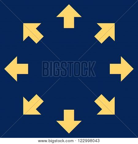 Radial Arrows vector icon symbol. Image style is flat radial arrows icon symbol drawn with yellow color on a blue background.