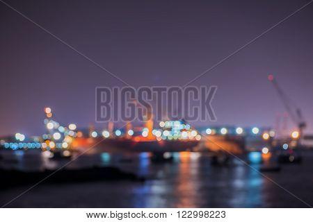 De-focus of Lamchabang Shipyard, Chonburi province Thailand.