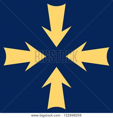 Reduce Arrows vector symbol. Image style is flat reduce arrows pictogram symbol drawn with yellow color on a blue background.