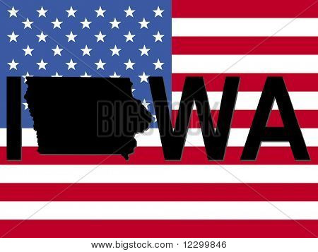 Iowa text with map on American flag illustration JPEG
