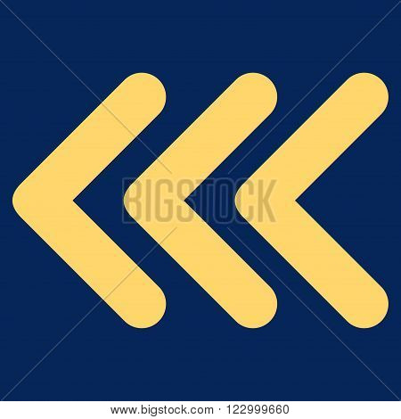 Triple Arrowhead Left vector icon symbol. Image style is flat triple arrowhead left pictogram symbol drawn with yellow color on a blue background.