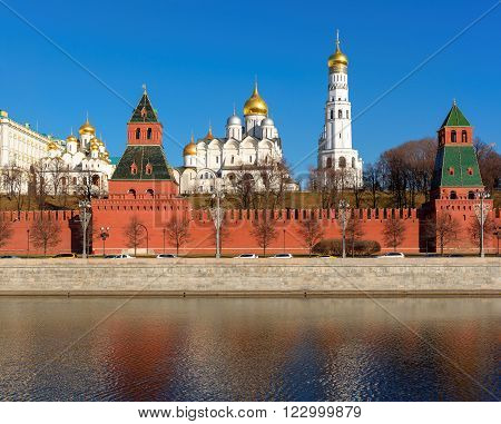 Cathedral over the Kremlin wall in Moscow Kremlin, Russia