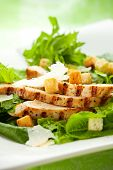 picture of caesar salad  - Chicken Caesar salad  on the white plate - JPG
