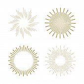 Retro Sun Burst Shapes. Vintage Starburst Logo, Labels, Badges. Sunburst Minimal Logo Frames. Vector poster
