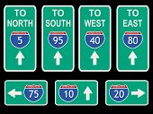 American Interstate signs with directions illustration JPG