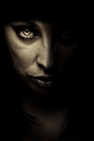 image of gothic girl  - emotion expression dark girl face - JPG