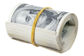 picture of rubber band  - Money roll roll of bills roll of dollar bills - JPG